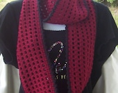 Free Shipping.  Infinity Scarf..Claret Red and Black..72 inches x 5 inches..