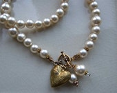 Vintage Heart Locket and Faux Pearl Necklace