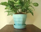 McCoy Pottery aqua planter, basketweave