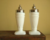 "Milk glass salt and pepper shakers, traditional L.E. Smith ""Early American"" pattern, elegant mid-century tableware, white milk glass S&P"