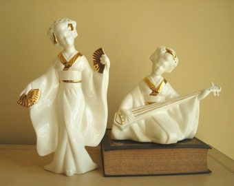 Oriental geisha figurines, white & gold ceramic, contemporary asian home decor, woman with fan, woman with lute