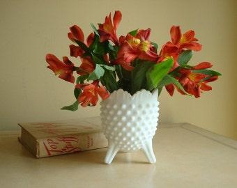 Vintage Fenton hobnail 3-toed milk glass vase, 1960s