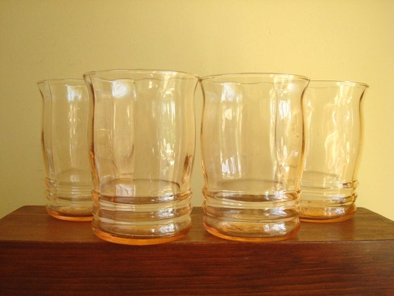 Vintage Depression Glass Tumblers Peach Pink Store Stock