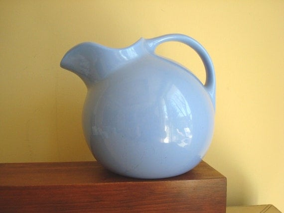 Hall China ball jug pitcher, sky blue