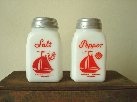 McKee Roman arch milk glass salt & pepper, red sailboats