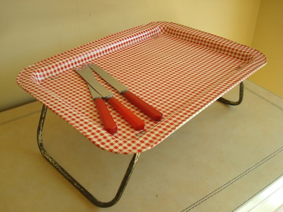 Folding bed tray, vintage red gingham