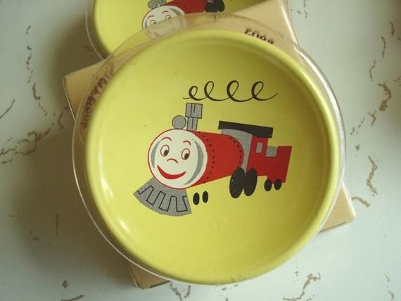 Thomas train drawer pulls, 2 drawer knobs, 1950s choo choo train, original package, child's room decor, wall hooks, kids yellow decor