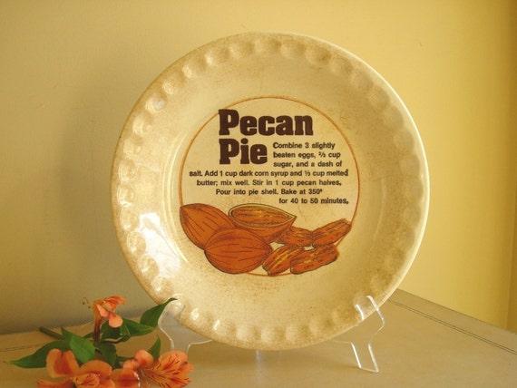 Pecan pie plate with recipe