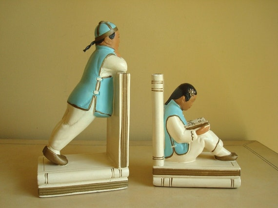 Alexander Backer Oriental bookends, aqua cream gold chalkware