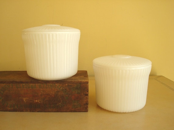 Breakstone milk glass dairy jar, cottage cheese container, pair