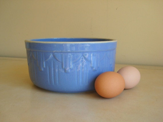 Yellow ware baking mixing bowl, blue glazed