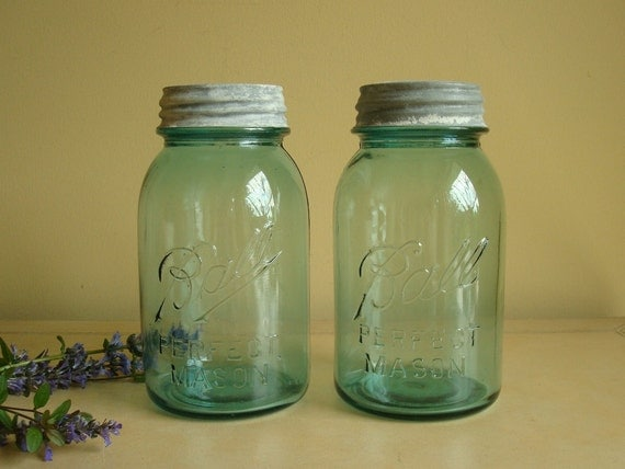 Ball Perfect Mason jar pair with zinc lids, blue Ball jars