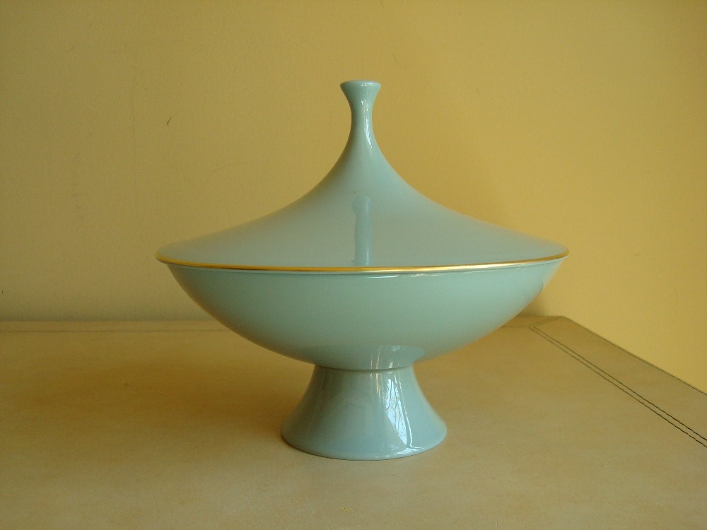 Lenox Porcelain Covered Compote Aqua Blue Gray By