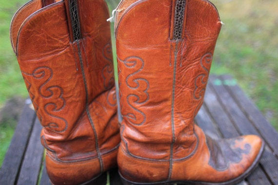 RESERVED for Southpawone - Best of the West - Vintage Mens Lucchese Cowboy Boots Two-Tone 10D