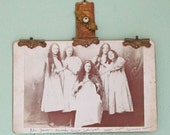 Antique Embellished Cabinet Card - 1899 - Five Mysterious Young Women and Violin