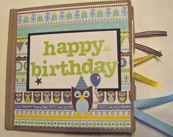 Owl Birthday Paper Bag Scrapbook