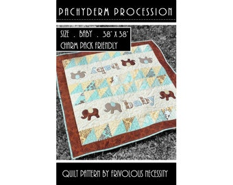 Quilt Pattern PDF Pachyderm Procession Baby Applique -- Charm Friendly