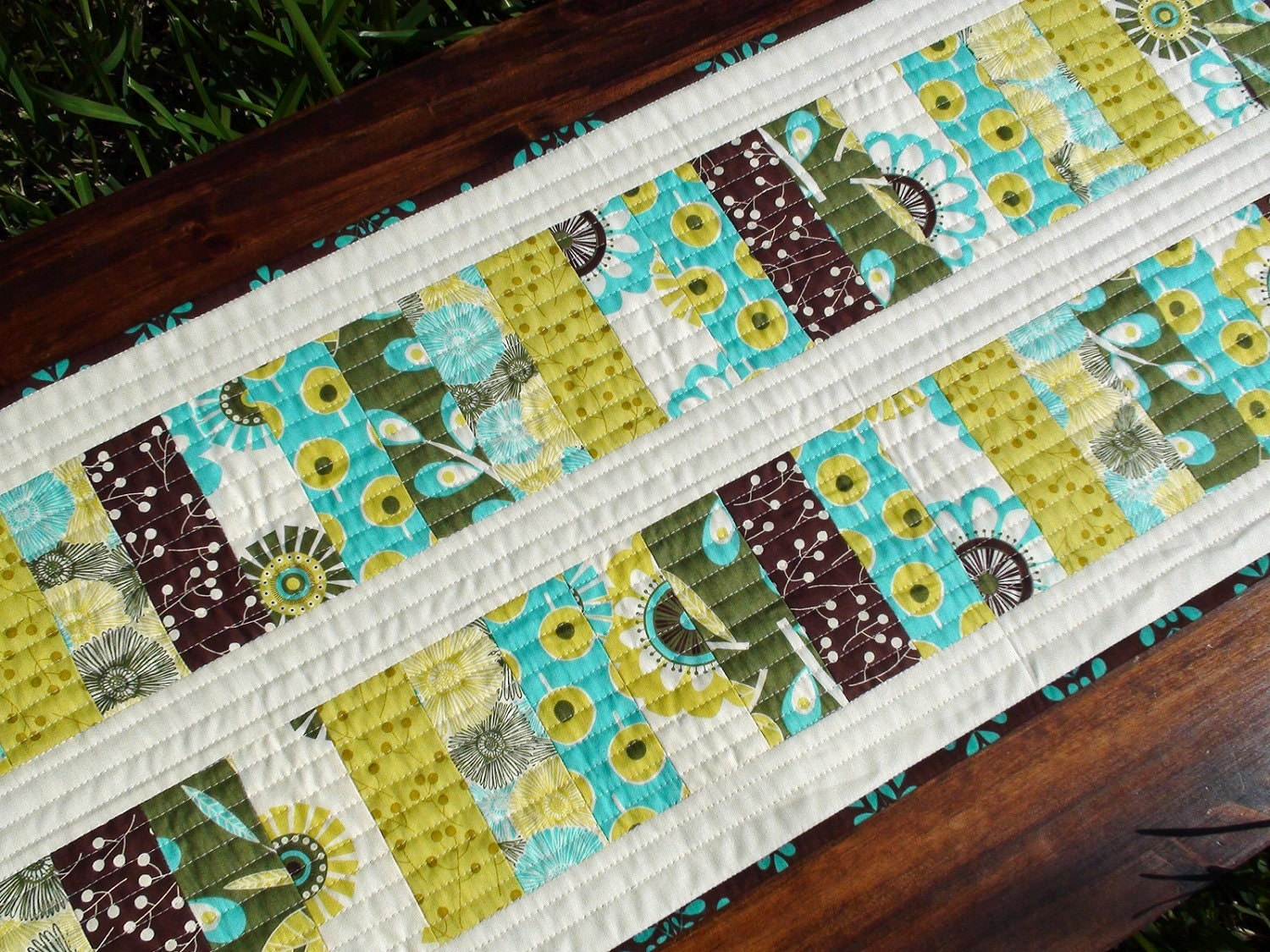 Green Blue And Brown Modern Table Runner Quilt In Sugar Pop By