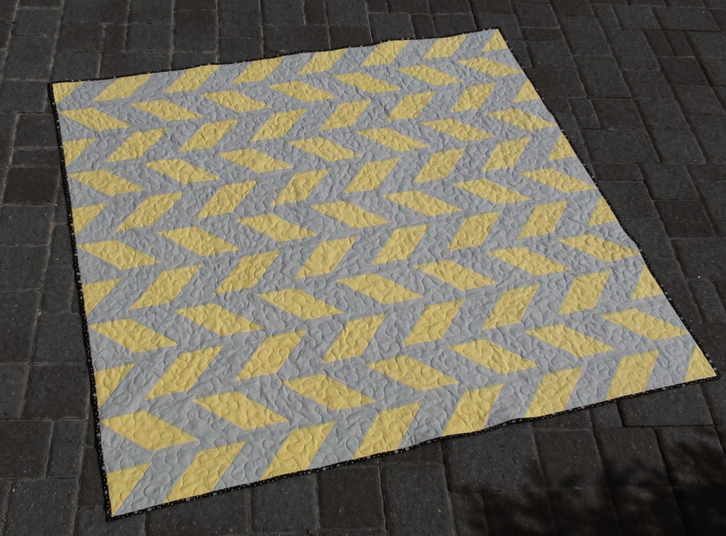 Grey Yellow Lemon Gray Lap Throw Quilt