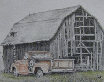 Barn pencil drawing -Gone But Not Forgotten - rustic rural landscape old truck graphite illustration m3DrawingPlus country art