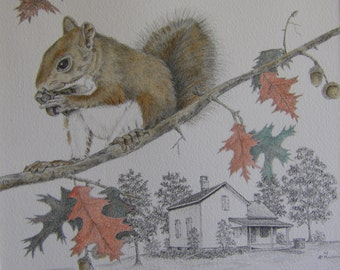 Pencil drawing country landscape old rustic farmhouse watercolor squirrel red oak tree nature shadow box art m3DrawingsPlus art assemblage