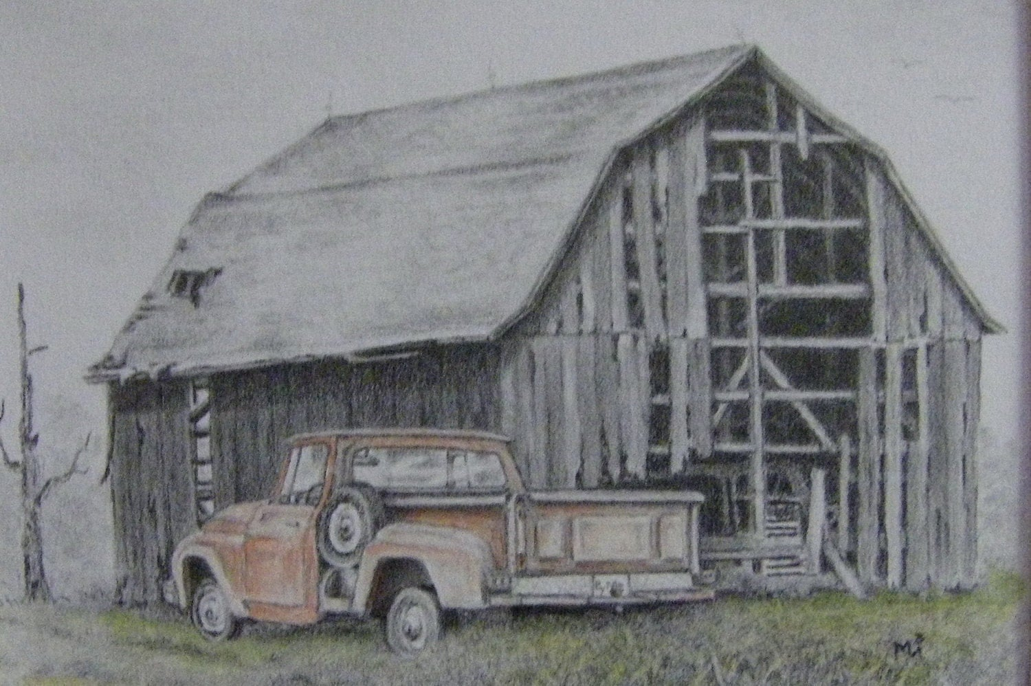 Barn Pencil Drawing Gone But Not Forgotten Rustic Rural