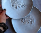 Reserved for PAM - Ceramic plates for dessert, Handmade, set of 2,  Wedding gifts, Organic shaped Handmade Tableware elephant plates