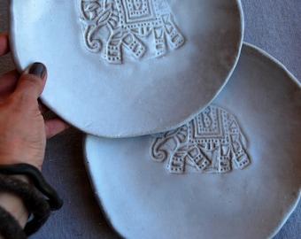 Ceramic plates for dessert, Handmade, set of 2,  Wedding gifts, Organic shaped Handmade Tableware elephant plates