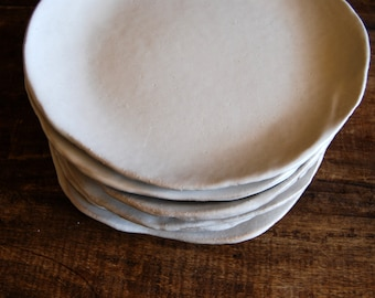 """White ceramic dinner  plates - Set of 4 """"white on red"""" handmade ceramic dinnerware - tableware - wedding gift"""