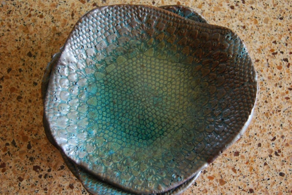 Ceramic Plates Caribbean Blue -handmade tableware - Turquoise Blue - dessert plates - housewarming Unique Organic