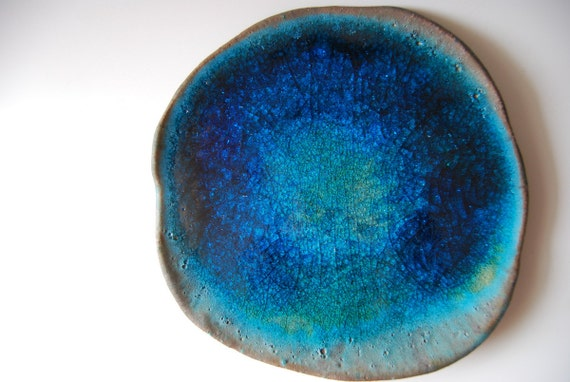Ceramic Blue Plate - Planet Earth Organic Shapped Modern Unique home decor ceramic plate by christiane sutherland