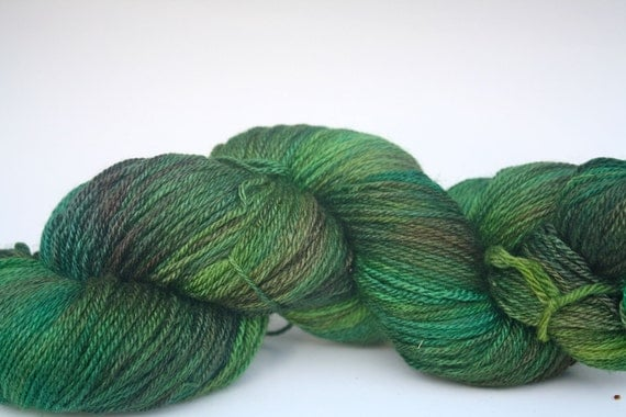 bfl silk cashmere fingering, 430 yards--moondust--grass stains