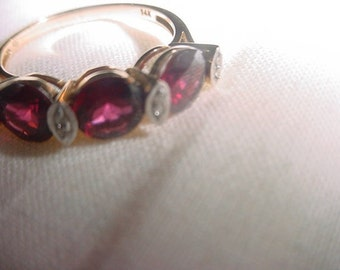 14 kt Rhodolite Garnet and Diamond yellow Gold ring January birthstone garnet Happy Graduation Day gift