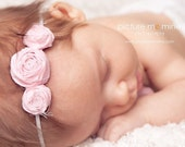 RESERVED for AMY- Allora Baby - petite three musketeers headband - soft pink