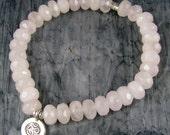 Yoga jewelry, Om Ohm Thai silver charm, natural rose quartz, chakra, meditation