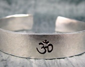 Hand Stamped Bracelet, Yoga Jewelry, Personalized Jewelry, Om