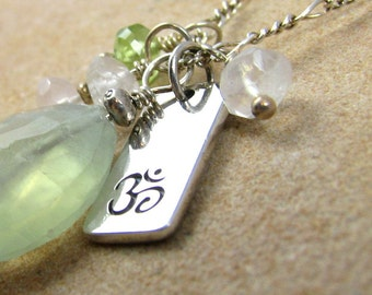 Yoga Jewelry Om Charm Necklace Prehnite Sterling Silver Healing