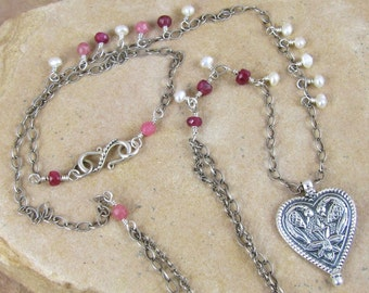 Sanskrit Love Necklace Yoga Jewelry Heart Pendant Sterling Silver Rubies Pearls