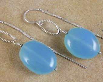 Chalcedony Drop Earrings Sterling Silver Ear Threads