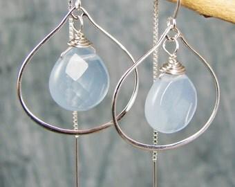 Chalcedony Sterling Earrings Petal Hoops with Ear Threads Pale Blue