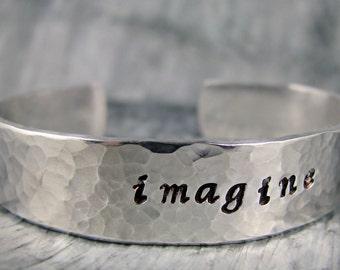 Hand Stamped Bracelet, Personalized Jewelry, Imagine