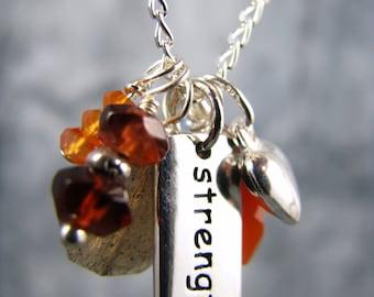 Survivor Jewelry, Strength Charm Necklace, Chakra Jewerly, Yoga Jewelry, Yoga Necklace