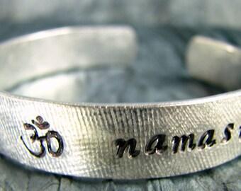 Hand Stamped Bracelet, Yoga Jewelry, Personalized Jewelry, Namaste