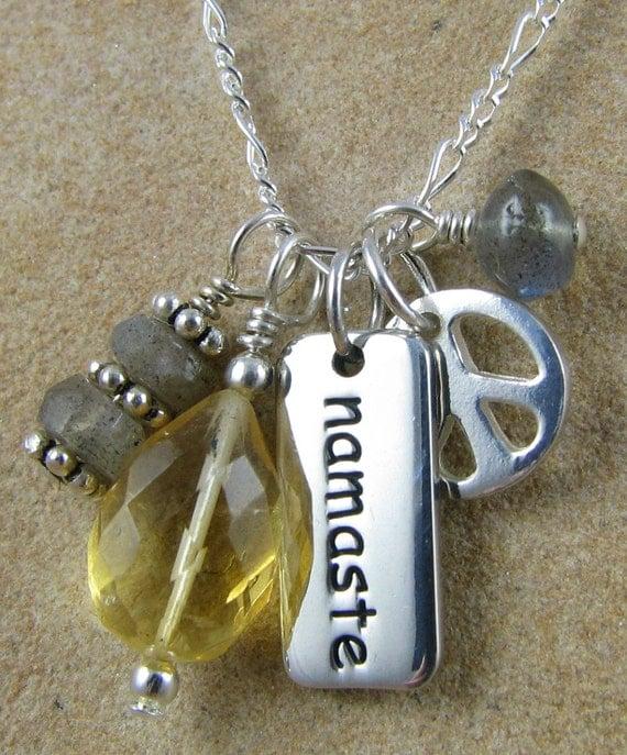 Yoga Jewelry, Namaste Necklace, Yoga Gift Necklace, Chakra Jewelry, Sterling Silver, Gemstones