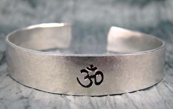 Hand Stamped Bracelet, Yoga Jewelry, Personalized Jewelry, Om