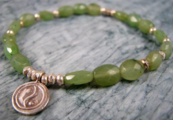 Mala, Yoga Bracelet, Meditation, Natural Jade, Green, Yin Yang Charm, Chakra, Meditation