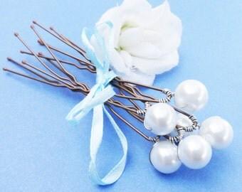 Pearl Bridal Hairpins,  Swarovski White Pearls - SET OF 6 - For Brides, Bridesmaids or Flowergirls