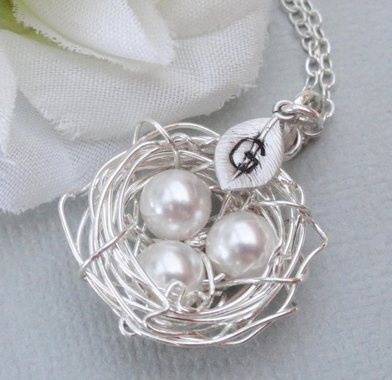 Silver Birdsnest Necklace, Personalized Silver Birds Nest Necklace,Choose Your Color Pearl,For Brides Bridesmaids Gift Or Mothers