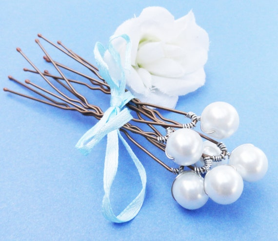Pearl Bridal Hairpins,  Swarovski White Pearls - SET OF 6 - For Brides, Bridesmaids or Flowergirls