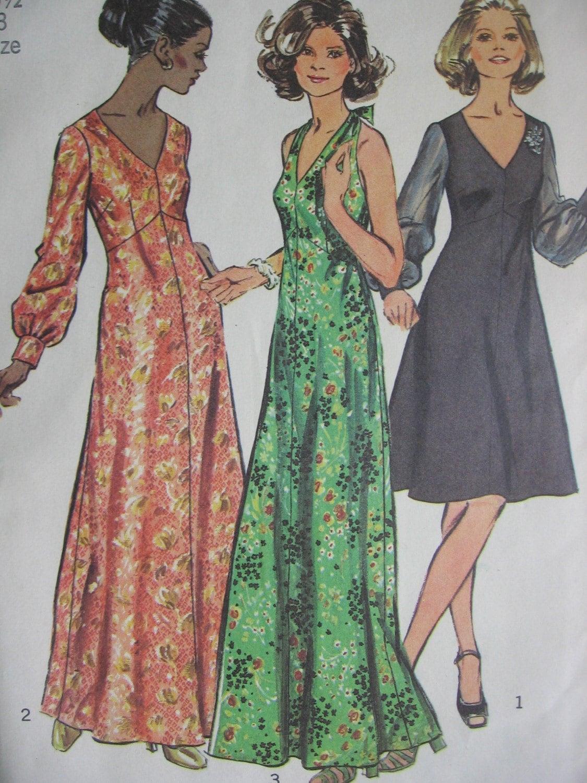 70s Vintage Plus Size 20 Maxi Dress Pattern Simplicity 5432